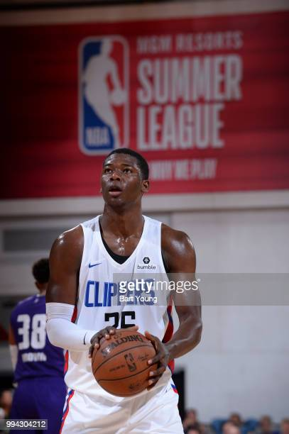 Angel Delgado of the LA Clippers shoots the ball against the Sacramento Kings during the 2018 Las Vegas Summer League on July 8 2018 at the Cox...