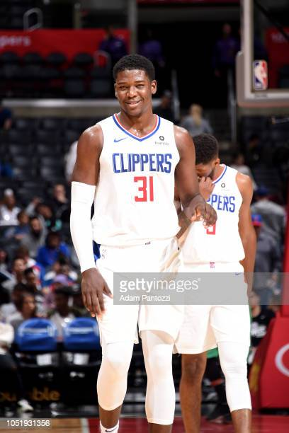 Angel Delgado of the LA Clippers smiles during a preseason game against the Maccabi Haifa on October 11 2018 at Staples Center in Los Angeles...