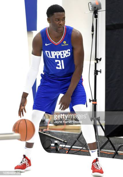Angel Delgado of the Los Angeles Clippers poses for photos during media day at the Los Angeles Clippers Training Center on September 24 2018 in Playa...