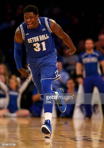 Angel Delgado of the Seton Hall Pirates celebrates his shot in the second half against the Xavier Musketeers during the semifinals of the Big East...
