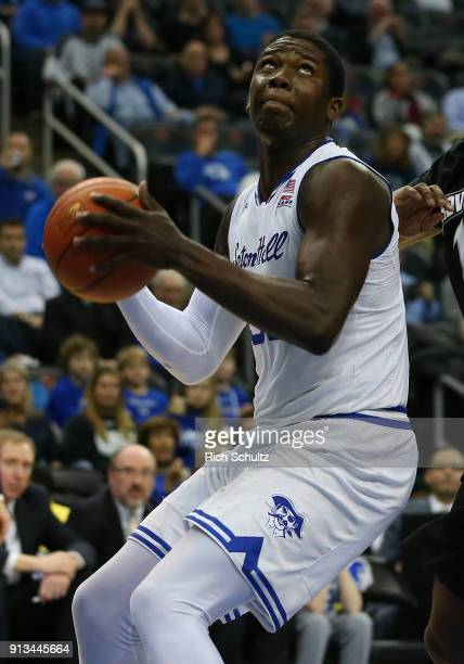 Angel Delgado of the Seton Hall Pirates in action against the Providence Friars during the first half of a game at Prudential Center on January 31...