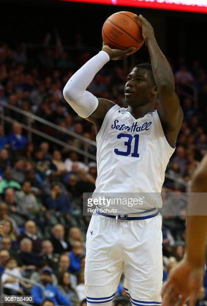 Angel Delgado of the Seton Hall Pirates in action against the Georgetown Hoyas during a game at Prudential Center on January 13 2018 in Newark New...