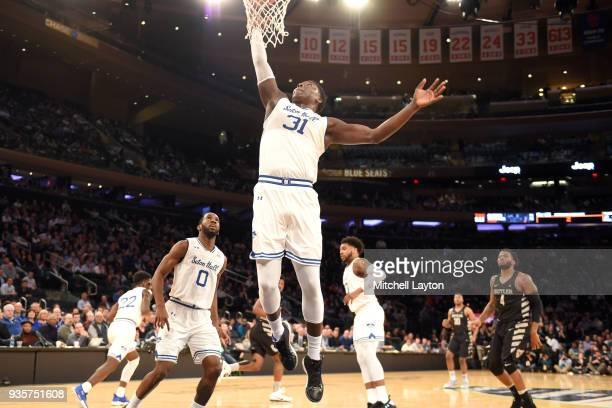 Angel Delgado of the Seton Hall Pirates pulls down a rebound during the quarterfinal round the Big East Men's Basketball Tournament against the...