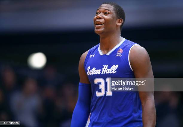 Angel Delgado of the Seton Hall Pirates reacts after a call during the game against the Butler Bulldogs at Hinkle Fieldhouse on January 6 2018 in...