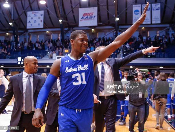 Angel Delgado of the Seton Hall Pirates reacts after the game against the Butler Bulldogs at Hinkle Fieldhouse on January 6 2018 in Indianapolis...