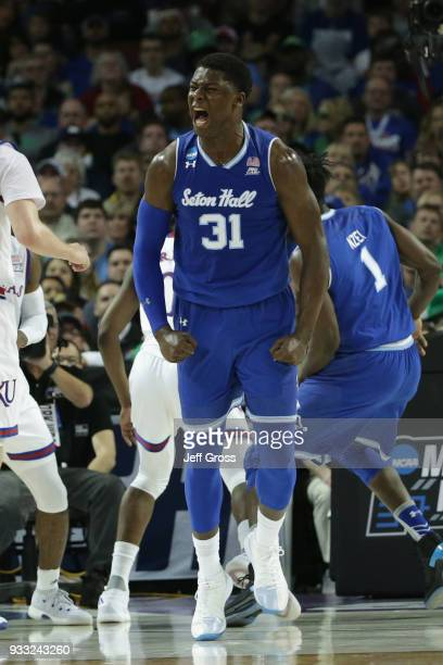 Angel Delgado of the Seton Hall Pirates reacts to a shot against the Kansas Jayhawks in the first half during the second round of the 2018 NCAA Men's...