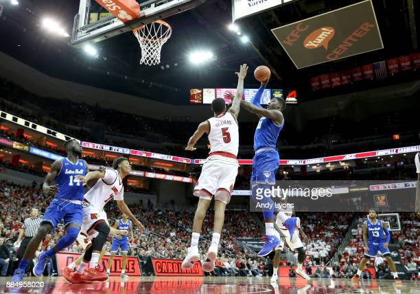 Angel Delgado of the Seton Hall Pirates shoots the ball against the Louisville Cardinals in the game at KFC YUM Center on December 3 2017 in...