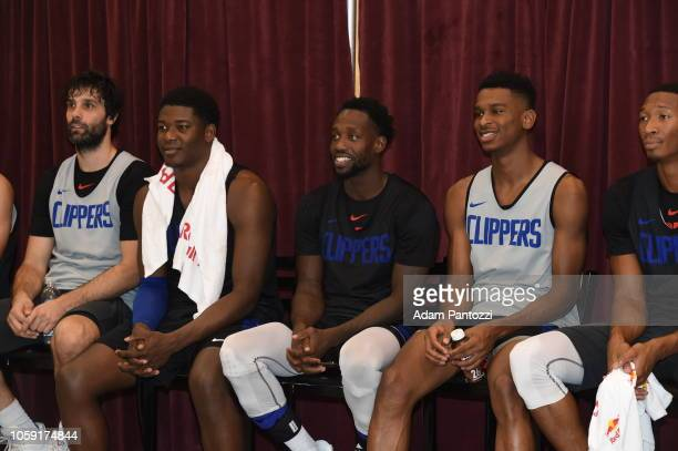 Angel Delgado Patrick Beverley Shai GilgeousAlexander of the LA Clippers during an open practice at the Galen Center on October 08 2018 in Los...
