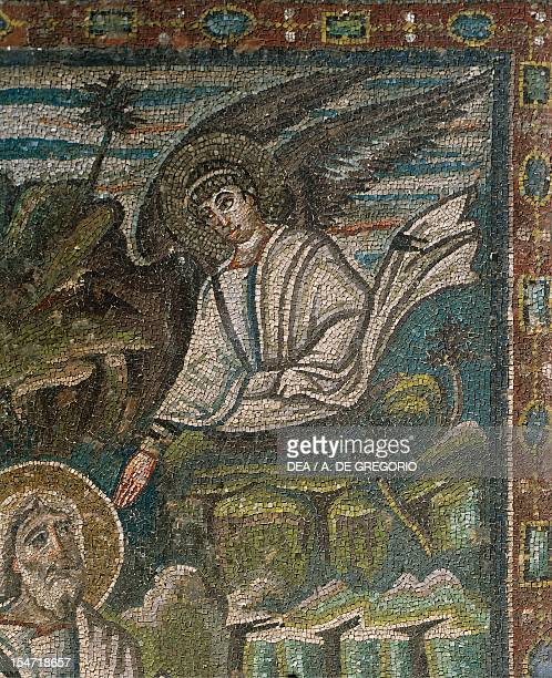 Angel detail from St Matthew the Evangelist being inspired by an angel mosaic left of the trifora south wall of the presbytery Basilica of San Vitale...