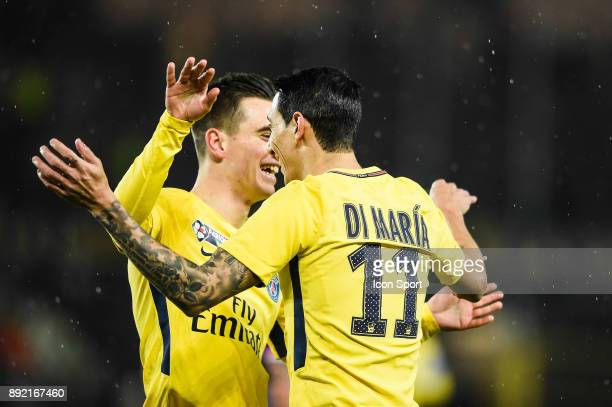 Angel di Maria and Giovani Lo Celso of PSG celebrate his goal during the french League Cup match Round of 16 between Strasbourg and Paris Saint...