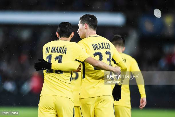 Angel di Maria and Julian Draxler of PSG celebrate his goal during the french League Cup match Round of 16 between Strasbourg and Paris Saint Germain...