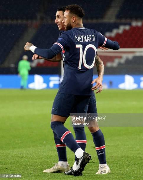 Angel Di Maria and Neymar Jr of Paris SaintGermain celebrate a goal during the UEFA Champions League Group H stage match between Paris SaintGermain...