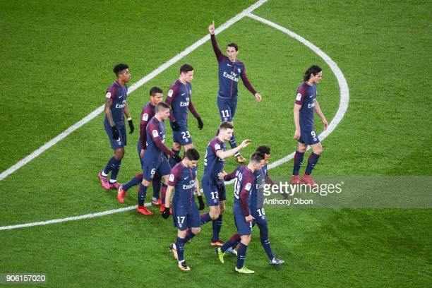 Angel Di Maria and team of PSG celebrates a goal during the Ligue 1 match between Paris Saint Germain and Dijon FCO at Parc des Princes on January 17...