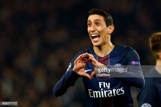 PSG Angel Di Maria celebrates after scoring during the UEFA Champions League round of 16 first leg football match between Paris SaintGermain and FC...