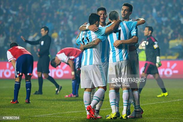 Angel Di Maria celebrates with teammates Sergio Aguero Marcos Rojo and Javier Pastore after scoring the fourth goal of his team during the 2015 Copa...