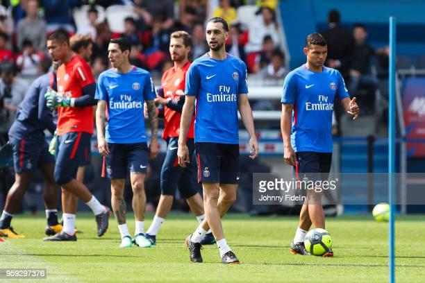 Angel di Maria Javier Pastore and Thiago Silva of PSG during the training session of Paris Saint Germain at Parc des Princes on May 16 2018 in Paris...