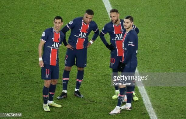 Angel Di Maria, Kylian Mbappe, Neymar Jr and Mauro Icardi of Paris Saint-Germain react during the Ligue 1 match between Paris Saint-Germain and...