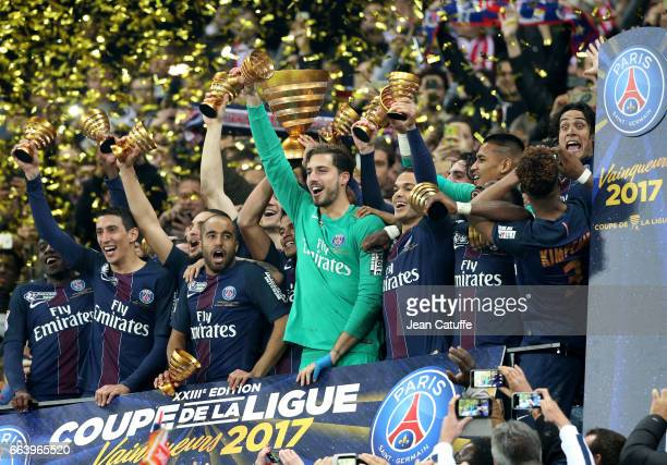 Angel Di Maria Lucas Moura goalkeeper of PSG Kevin Trapp Hatem Ben Arfa Edinson Cavani of PSG celebrate the victory following the French League Cup...