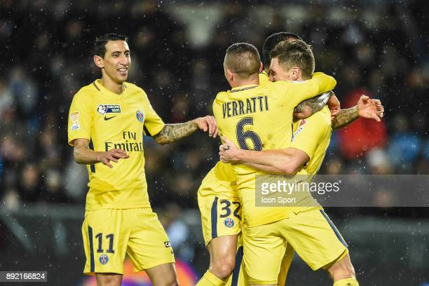Angel di Maria Marco Verratti and Thomas Meunier of PSG celebrate his goal during the french League Cup match Round of 16 between Strasbourg and...