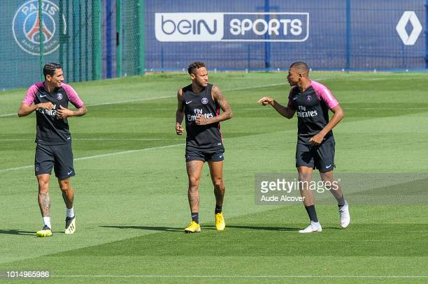 Angel Di Maria Neymar and Kylian Mbappe of PSG during the Training Session of Paris Saint Germain at Camp des Loges on August 11 2018 in Paris France