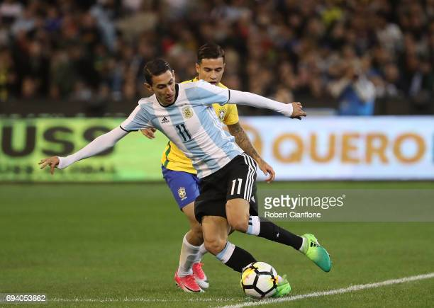 Angel Di Maria of Agrentina controls the ball during the Brazil Global Tour match between Brazil and Argentina at Melbourne Cricket Ground on June 9...