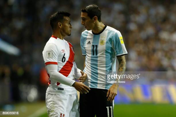 Angel Di Maria of Argentina and Miguel Trauco of Peru argue during a match between Argentina and Peru as part of FIFA 2018 World Cup Qualifiers at...