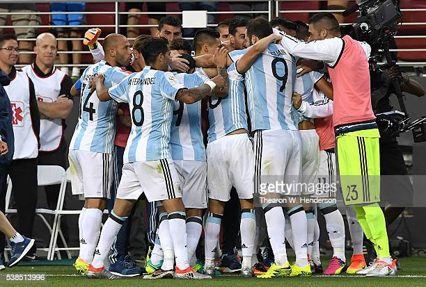 Angel Di Maria of Argentina and teammates celebrates after Maria scored a goal against Chile during the 2016 Copa America Centenario Group match play...