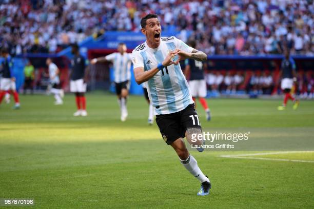 Angel Di Maria of Argentina celebrates after scoring his team's first goal during the 2018 FIFA World Cup Russia Round of 16 match between France and...
