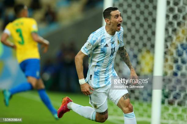 Angel Di Maria of Argentina celebrates after scoring the first goal of his team during the final of Copa America Brazil 2021 between Brazil and...