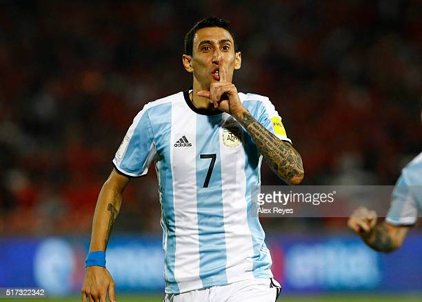 Angel Di Maria of Argentina celebrates after scoring the first goal his team during a match between Chile and Argentina as part of FIFA 2018 World...