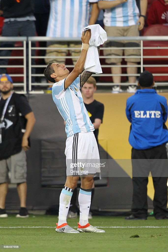 Angel Di Maria of Argentina celebrates after scoring the opening goal during a group D match between Argentina and Chile at Levi's Stadium as part of Copa America Centenario US 2016 on June 06, 2016 in Santa Clara, California, US.
