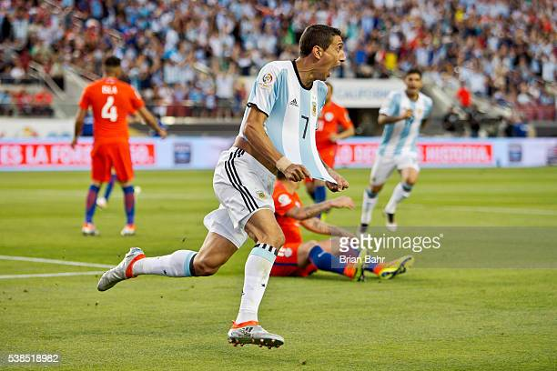 Angel Di Maria of Argentina celebrates after scoring the opening goal during a group D match between Argentina and Chile at Levi's Stadium as part of...