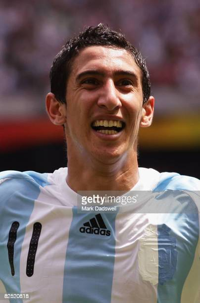 Angel Di Maria of Argentina celebrates his opening goal in the Men's Gold Medal football match between Nigeria and Argentina at the National Stadium...
