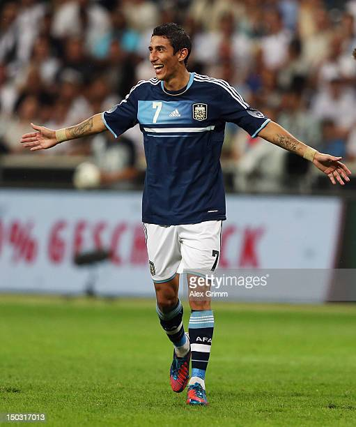 Angel di Maria of Argentina celebrates his team's third goal during the international friendly match between Germany and Argentina at...