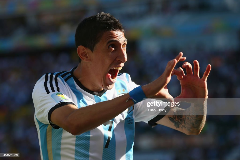 Angel di Maria of Argentina celebrates scoring his team's first goal in extra time during the 2014 FIFA World Cup Brazil Round of 16 match between Argentina and Switzerland at Arena de Sao Paulo on July 1, 2014 in Sao Paulo, Brazil.