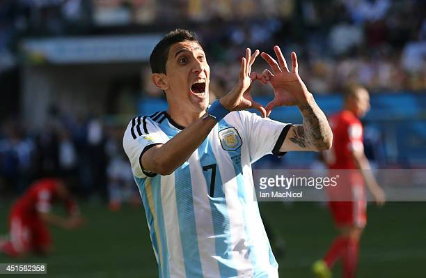 Angel Di Maria of Argentina celebrates scoring in extra time during the 2014 FIFA World Cup Brazil Round of 16 match between Argentina and...