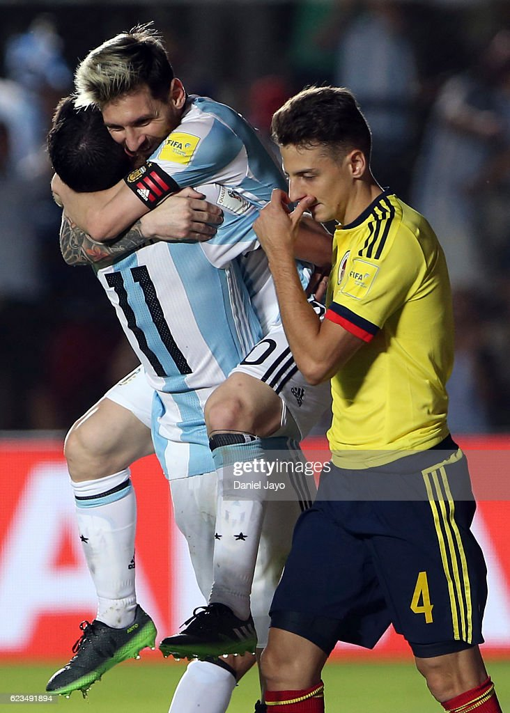 Angel Di Maria of Argentina celebrates with teammate Lionel Messi after scoring the third goal of his team during a match between Argentina and Colombia as part of FIFA 2018 World Cup Qualifiers at Bicentenario de San Juan Stadium on November 15, 2016 in San Juan, Argentina.