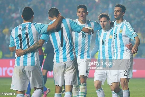 Angel di Maria of Argentina celebrates with teammates after scoring the fourth goal of his team during the 2015 Copa America Chile Semi Final match...