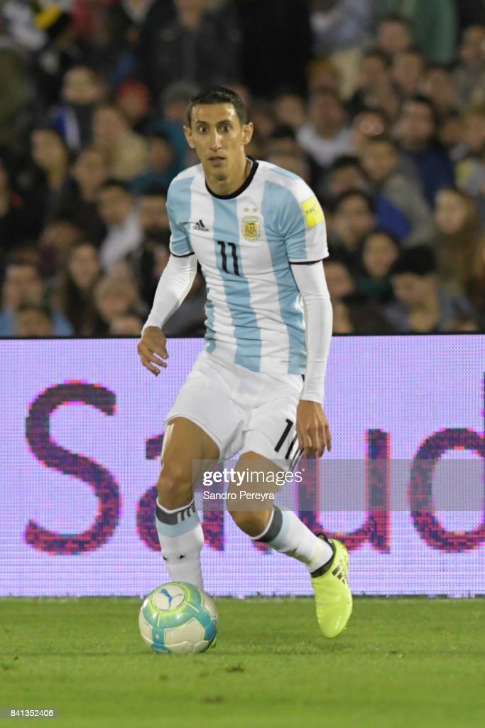 Angel Di Maria of Argentina drives the ball during a match between Uruguay and Argentina as part of FIFA 2018 World Cup Qualifiers at Centenario Stadium on August 31, 2017 in Montevideo, Uruguay.