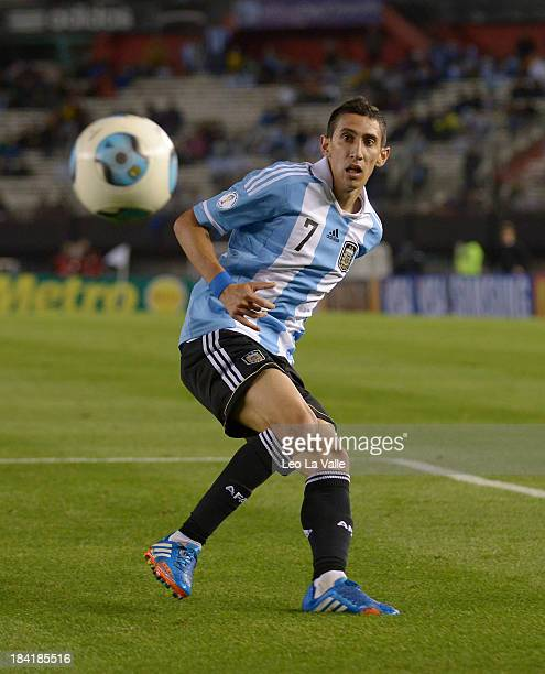 Angel Di Maria of Argentina during a match between Argentina and Peru as part of the 17th round of the South American Qualifiers at Antonio Vespucio...