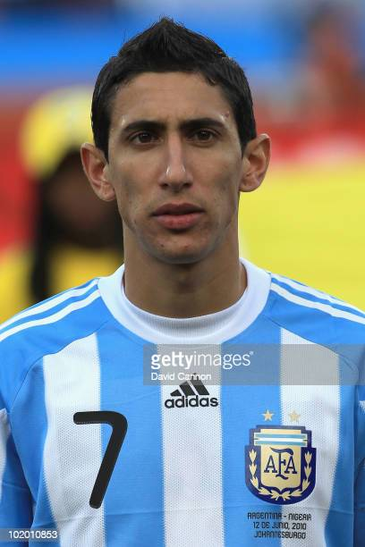 Angel Di Maria of Argentina during the 2010 FIFA World Cup South Africa Group B match between Argentina and Nigeria at Ellis Park Stadium on June 12...