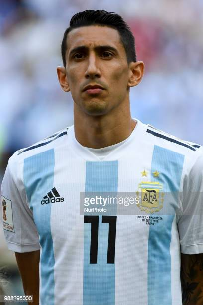 Angel Di Maria of Argentina during the 2018 FIFA World Cup Round of 16 match between France and Argentina at Kazan Arena in Kazan Russia on June 30...