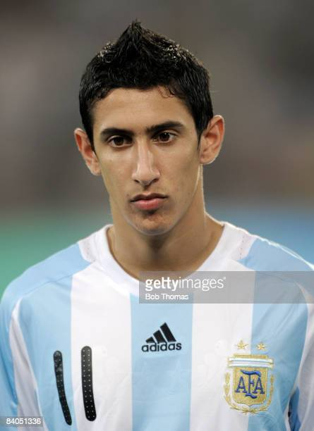 Angel Di Maria of Argentina during the Men's First Round Group A match between Argentina and Serbia at the Workers' Stadium on Day 5 of the Beijing...
