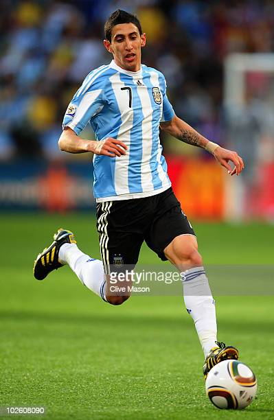 Angel Di Maria of Argentina in action during the 2010 FIFA World Cup South Africa Quarter Final match between Argentina and Germany at Green Point...