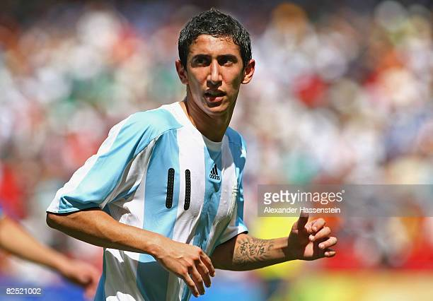 Angel Di Maria of Argentina in action during the Men's Gold Medal football match between Nigeria and Argentina at the National Stadium on Day 15 of...