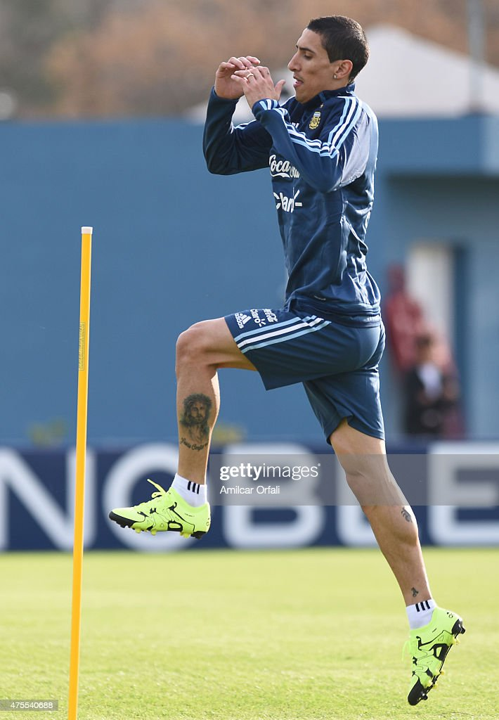 Angel Di Maria of Argentina jumps during a training session at Argentine Football Association 'Julio Humberto Grondona' training camp on June 01, 2015 in Ezeiza, Argentina. Argentina will face its first match as part of Copa America Chile 2015 against Paraguay on June 13th, 2015.
