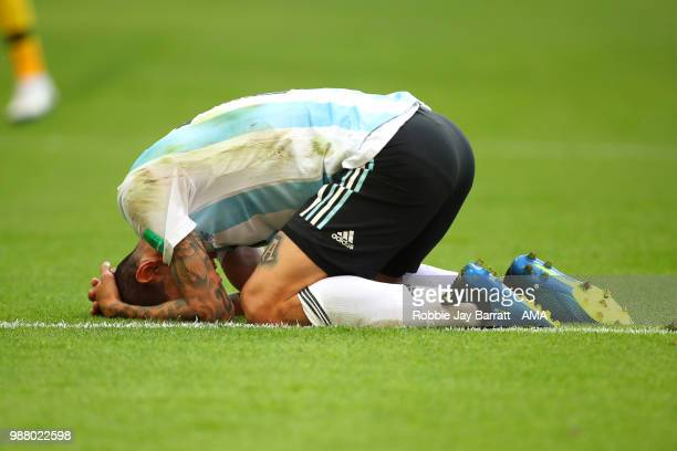 Angel Di Maria of Argentina looks dejected at the end of the 2018 FIFA World Cup Russia Round of 16 match between France and Argentina at Kazan Arena...