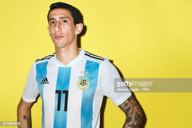 Angel Di Maria of Argentina poses during the official FIFA World Cup 2018 portrait session at on June 12 2018 in Moscow Russia
