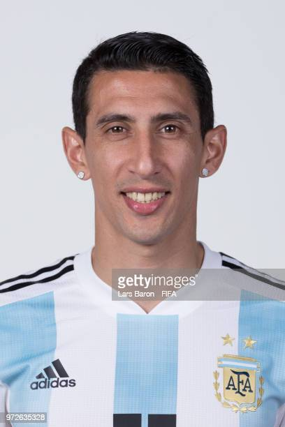 Angel Di Maria of Argentina poses for a portrait during the official FIFA World Cup 2018 portrait session on June 12 2018 in Moscow Russia