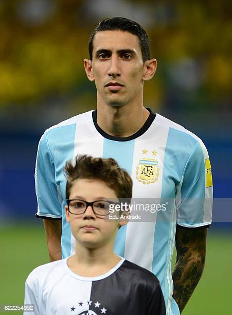 Angel Di Maria of Argentina poses prior a match between Argentina and Brazil as part of FIFA 2018 World Cup Qualifiers at Mineirao Stadium on...